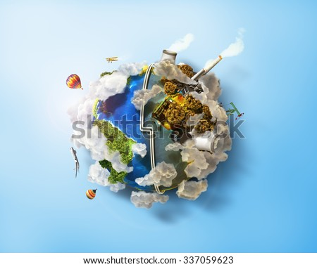 Eco Friendly, green energy concept. Solar energy town, wind energy. Dirty city, factories, air pollution, landfill. Atomic plants. Save the planet concept. Earth Day. - stock photo