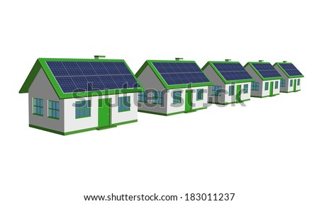 Eco Friendly Houses - 3d render single-family detached housing models with the Solar Panels - stock photo