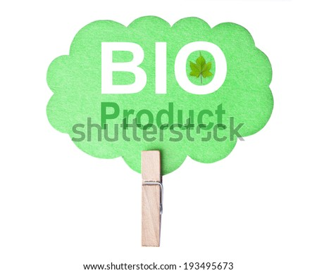 Eco friendly label. Bio product, isolated on white background, clipping path. - stock photo