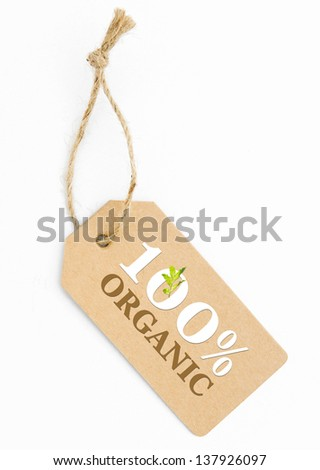 Eco friendly label, 100% organic - stock photo