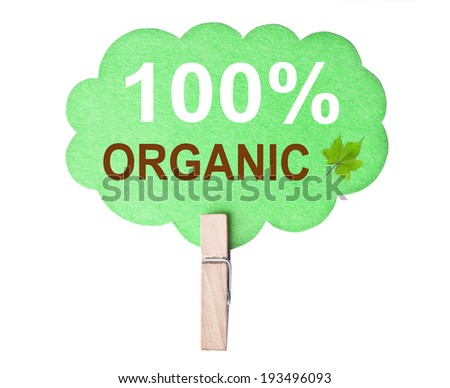 Eco friendly label. 100% organic, isolated on white background, clipping path. - stock photo