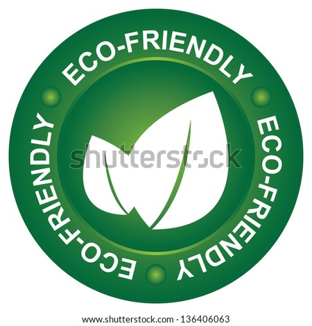 Eco-Friendly or Natural Product Concept Present By Green Eco-Friendly Circle Sign With Leaf Sign Inside Isolated on White Background - stock photo