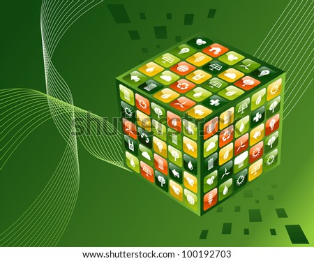 Eco friendly smart phone app cube with icon set background. - stock photo