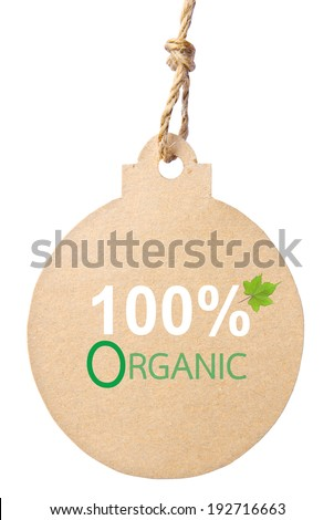 Eco friendly tag, 100% organic. Clipping path - stock photo