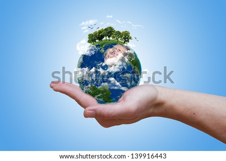 Eco green earth (elements of this image furnished by NASA) - stock photo