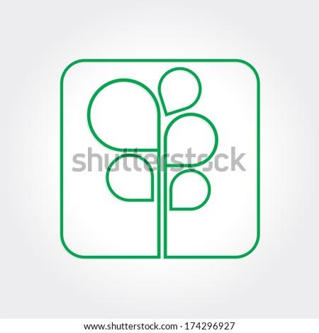 Eco Green Tree logo template. Rasterized version - stock photo