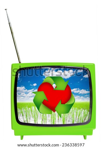Eco Green TV concept. Vintage television isolated on the white background.  - stock photo