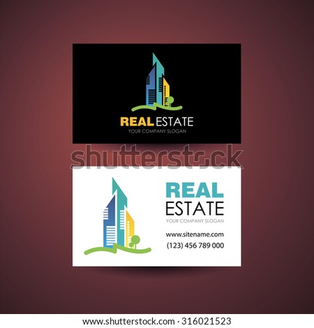 Eco home and real estate logo template. Business card design idea. - stock photo
