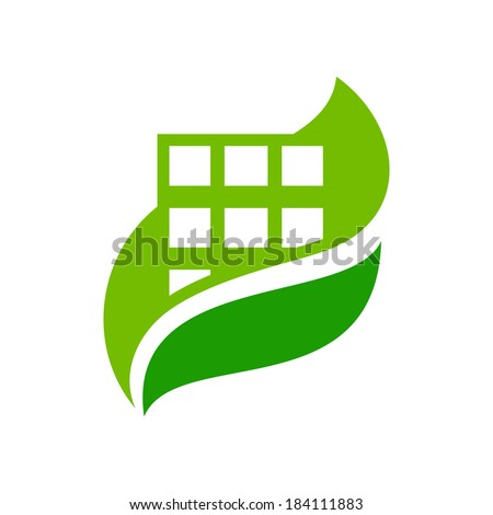 Eco house Branding Identity Corporate logo design template Isolated on a white background - stock photo