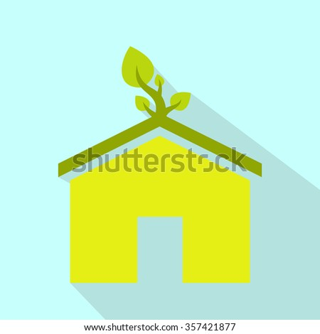 Eco house flat icon. Modern green and yellow ecology symbol  - stock photo