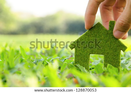 eco house icon concept - stock photo