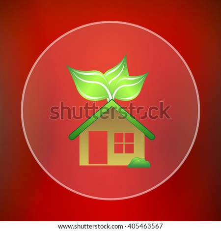 Eco house icon. Internet button on red background.