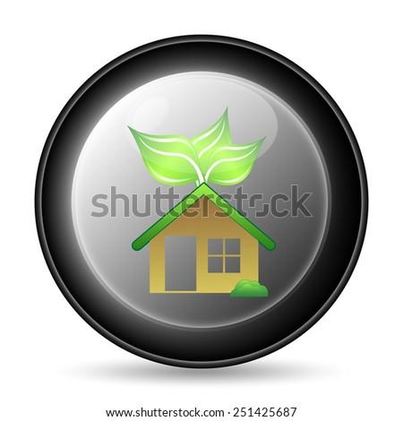 Eco house icon. Internet button on white background.  - stock photo