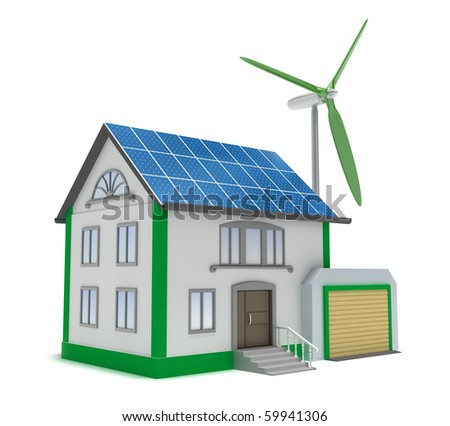 Eco house isolated 3D concept. My own design. - stock photo
