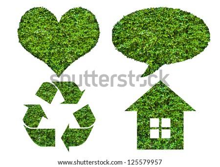 eco icon set with leaf texture, isolated on white background - stock photo