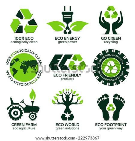 eco label and symbol set with differently varied modern elements - stock photo