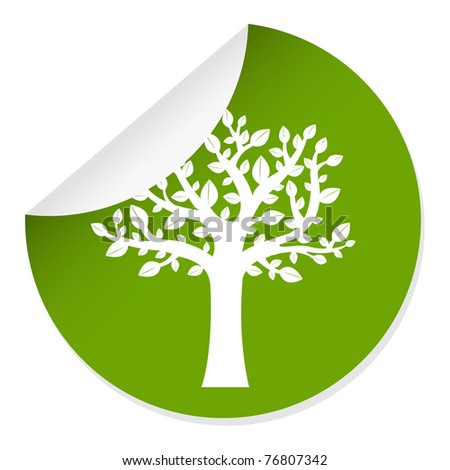 Eco Label With Tree, Isolated On White Background - stock photo