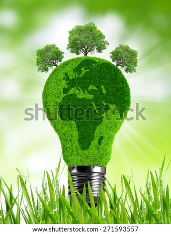 Eco light bulb in grass. Green energy concept. - stock photo