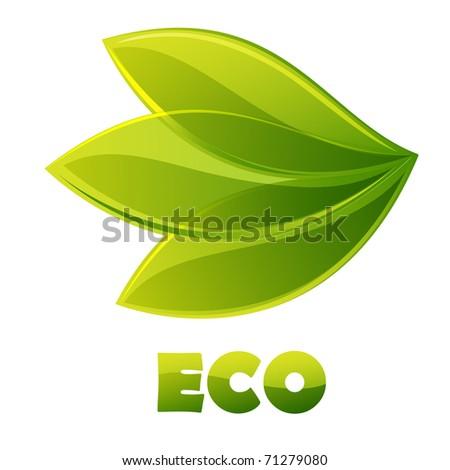 Eco logo - green leaves - stock photo