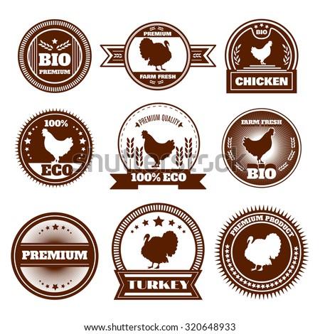 Eco organic farm free range chicken turkey premium quality production emblems icons set abstract isolated  illustration - stock photo