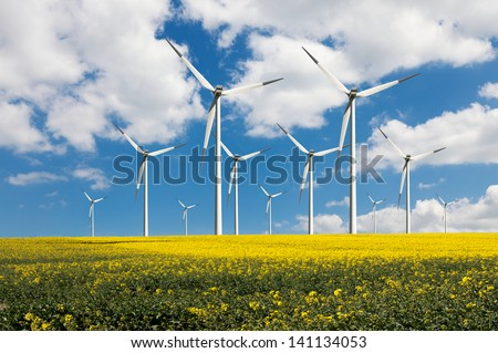 Eco power wind turbines - stock photo