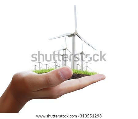 Eco power, wind turbines in the hand  - stock photo