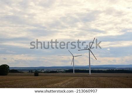 Eco power, wind turbines, wind power. - stock photo