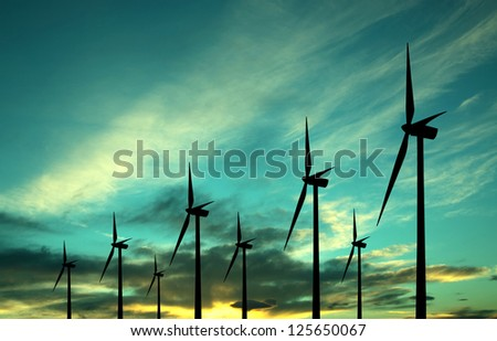 Eco power windturbines - stock photo