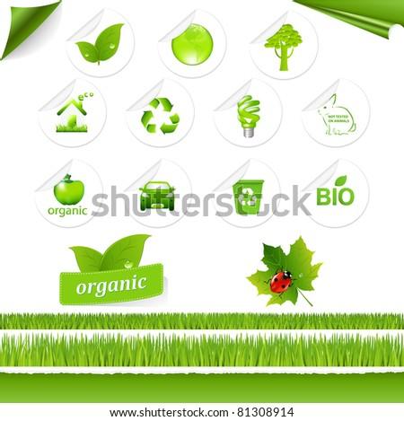 Eco Set, Isolated On White Background - stock photo