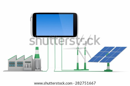 Ecofriendly concept. Green factory, wind turbine and solar panel connected to smartphone isolated on white background. - stock photo