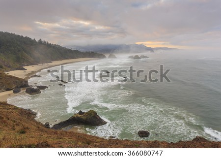 Ecola State park, Oregon Coast, USA - stock photo