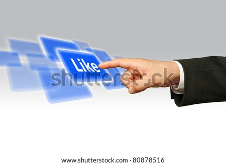 Ecological concept, finger of businessman pessing likeblue button. - stock photo
