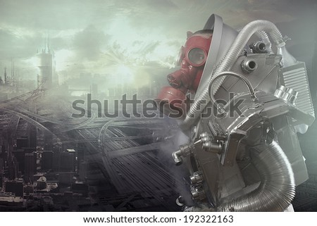 Ecological disaster, gas mask man lamenting - stock photo
