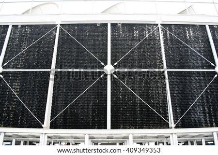 Ecological energy renewable solar panel plant electric power  - stock photo