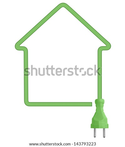 Ecological house electricity symbol - stock photo