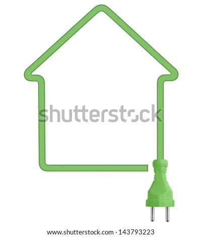 Ecological house electricity symbol - stock photo