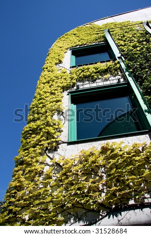 Ecological modern building of library in Warsaw . Poland. - stock photo