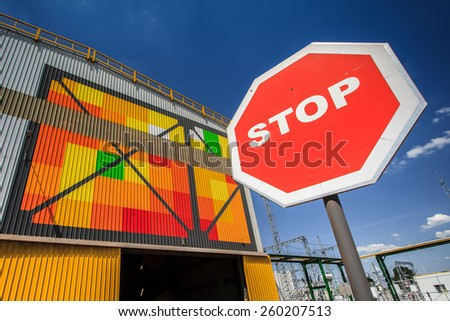 ecological production metallurgical - stock photo