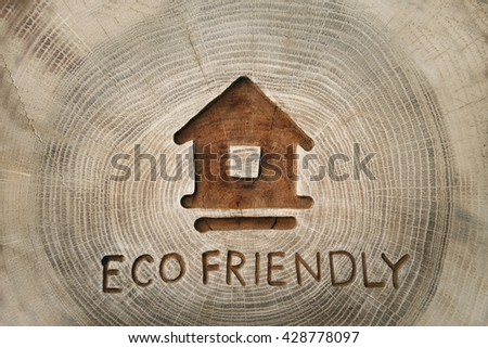 Ecological theme, eco-friendly house. eco construction. a family. photos for your design - stock photo