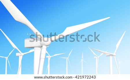 Ecological wind turbine on the sky background with the effect depth of field. 3d illustration - stock photo