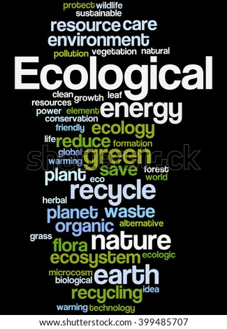 Ecological, word cloud concept on black background.  - stock photo
