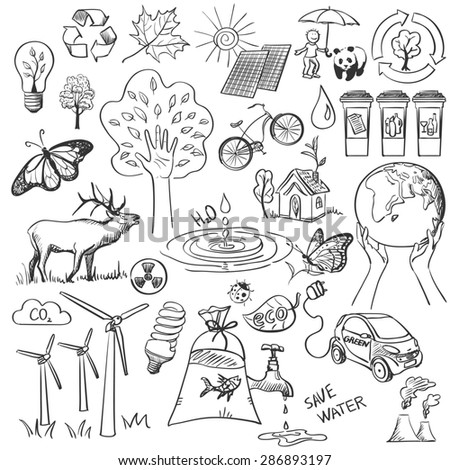 Ecology and recycle doodle icons set - stock photo