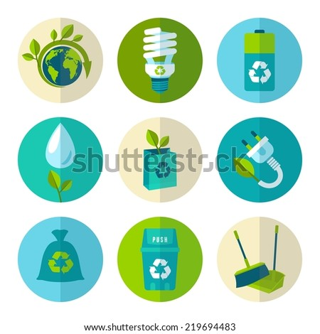 Ecology and waste flat icons set of trash recycling conservation isolated  illustration. - stock photo