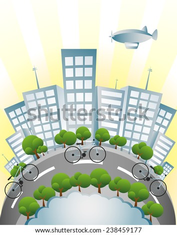 Ecology, Bicycle and Green City - stock photo