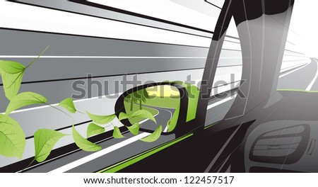 Ecology car with a lot of nature growing from itself - stock photo