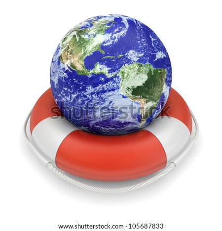 Ecology concept. Earth globe in lifebuoy. 3d image. The Earth texture of this image furnished by NASA. (http://visibleearth.nasa.gov/view.php?id=57735) - stock photo