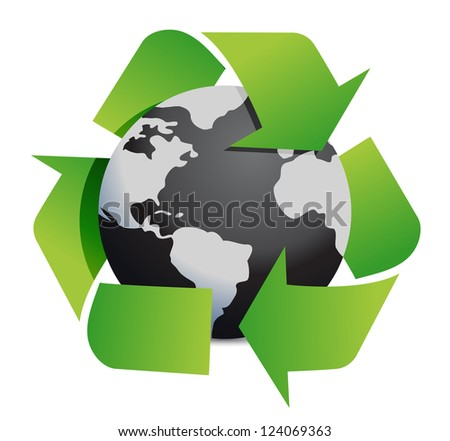 Ecology concept graphic illustration design over white - stock photo