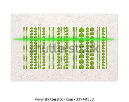 ecology concept with heart of green leaves in bar code sign, isolated on white background - stock photo