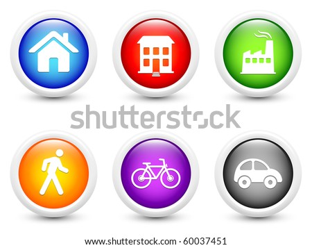 Ecology Icons on Simple Round Button Collection Original Illustration - stock photo