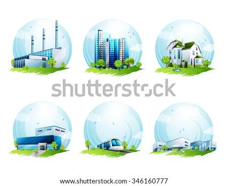 Ecology icons set - stock photo